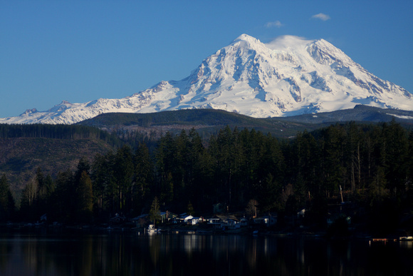 Mt. Rainier over Lake Houses